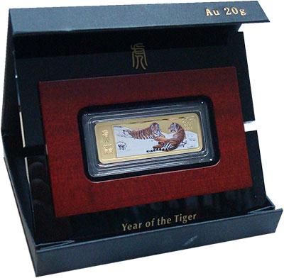 Изображение Подарочные монеты Либерия Год тигра 2010 Золото Proof Монета номиналом 200