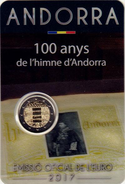 Изображение Подарочные монеты Андорра 2 евро 2017 Биметалл UNC 100 лет гимну Андорр