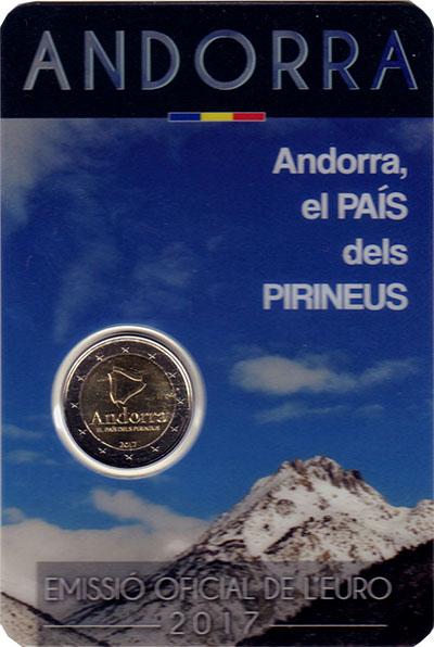 Изображение Подарочные монеты Андорра 2 евро 2017 Биметалл UNC Андорра - сердце Пир
