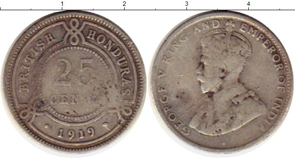 Картинка Монеты Белиз 25 центов Серебро 1919