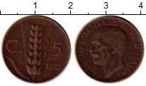 Изображение Монеты Италия 5 сентесим 1923 Медь XF