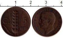Изображение Монеты Италия 5 сентесим 1931 Медь XF