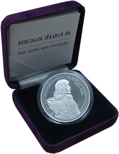 Изображение Подарочные монеты Латвия 1 лат 2010 Серебро Proof 400 лет со дня рожде