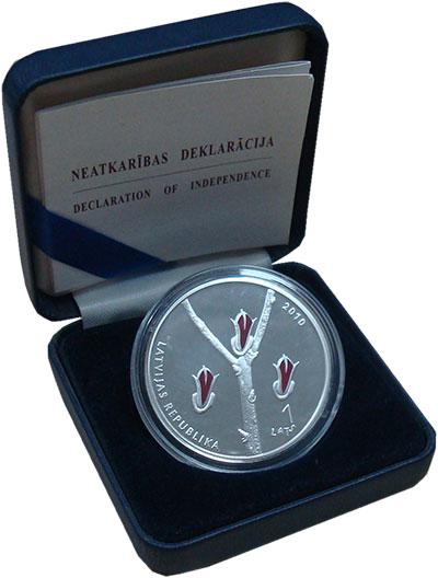 Изображение Монеты Латвия 1 лат 2010 Серебро Proof 20  лет  Декларации