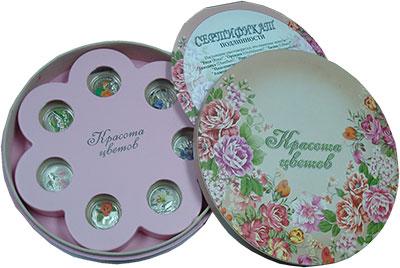 Изображение Подарочные монеты Беларусь Красота цветов 2013 Серебро Proof Набор из десяти моне