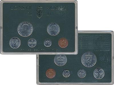 Изображение Подарочные монеты Норвегия Набор 1981 года 1981  UNC В набор входят шесть