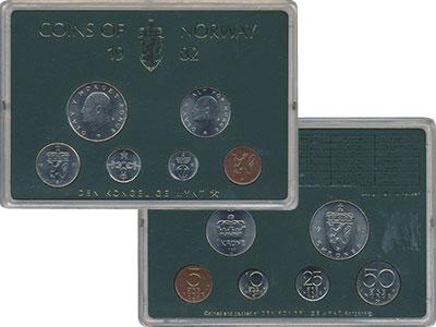 Изображение Подарочные монеты Норвегия Набор 1982 года 1982  UNC В набор входят шесть