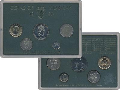 Изображение Подарочные монеты Норвегия Набор 1990 года 1990  UNC В набор входят четыр