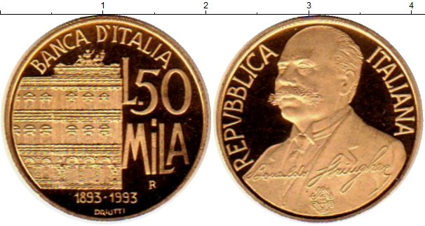 Картинка Монеты Италия 50.000 лир Золото 1993