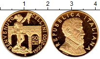 Изображение Монеты Италия 50000 лир 2000 Золото Proof-