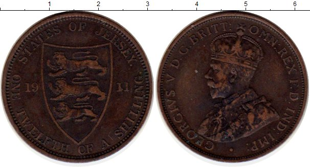 Картинка Монеты Остров Джерси 1/12 шиллинга Бронза 1911