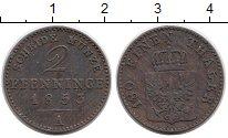 Изображение Монеты Германия Пруссия 2 пфеннига 1853 Медь XF
