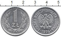 Изображение Монеты Польша 1 злотый 1974 Алюминий XF