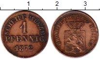 Изображение Монеты Германия Гессен-Дармштадт 1 пфенниг 1872 Медь XF-