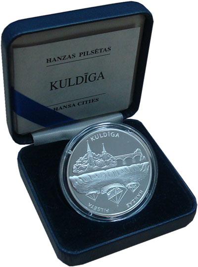 Изображение Подарочные монеты Латвия 1 лат 2002 Серебро Proof Ганзейские города. К