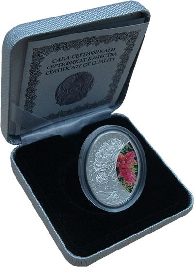Изображение Подарочные монеты Казахстан 500 тенге 2016 Серебро Proof Цветная  эмаль.  Сак