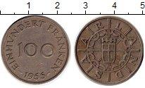 Изображение Монеты Германия Саар 100 франков 1955 Медно-никель XF