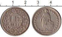 Изображение Монеты Швейцария 1 франк 1921 Серебро XF