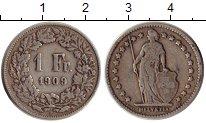 Изображение Монеты Швейцария 1 франк 1909 Серебро XF