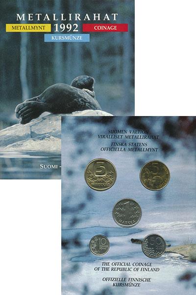 Изображение Подарочные монеты Финляндия Набор 1992 года 1992  UNC В набор входят пять