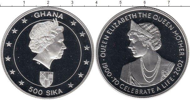 Картинка Монеты Гана 500 сика Серебро 2002