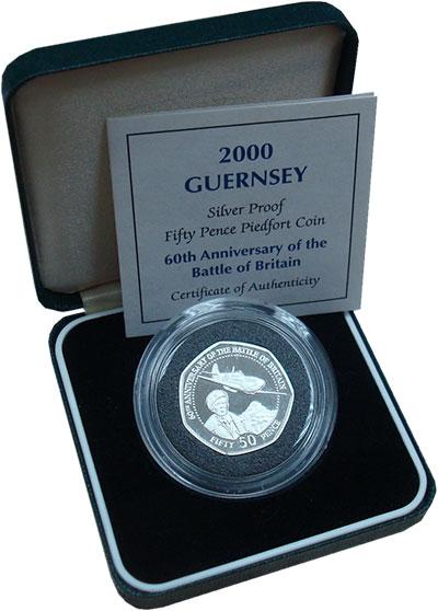 Изображение Подарочные монеты Гернси 50 пенсов 2000 Серебро Proof 60-летие сражения за