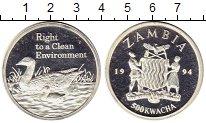 Изображение Монеты Замбия 500 квач 1994 Серебро Proof-