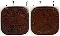 Изображение Монеты Стрейтс-Сеттльмент 1 цент 1920 Медь XF