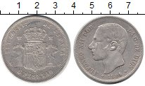 Изображение Монеты Испания 5 песет 1884 Серебро XF-