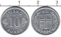 Изображение Монеты Исландия 10 аурар 1970 Алюминий XF