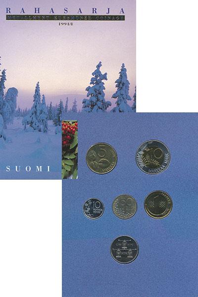 Изображение Подарочные монеты Финляндия Набор 1994 года 1994  UNC В набор входят пять