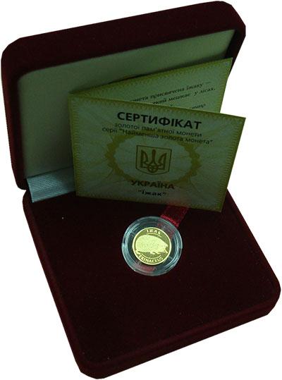 Изображение Подарочные монеты Украина 2 гривны 2006 Золото UNC Ёж (KM# 408  Проба 9