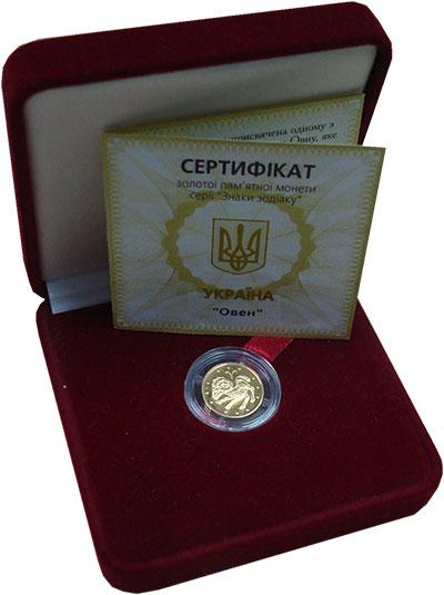 Изображение Подарочные монеты Украина 2 гривны 2006 Золото Proof Знаки Зодиака. Овен