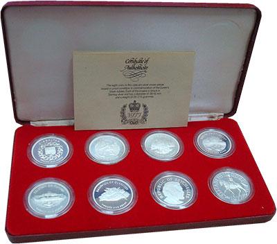 Изображение Подарочные монеты Великобритания 25 лет правления Елизаветы II 1977 Серебро Proof- Набор из восьми моне
