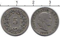 Изображение Монеты Швейцария 5 рапп 1906 Медно-никель XF