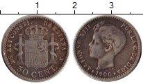 Изображение Монеты Испания 50 сентим 1900 Серебро XF-