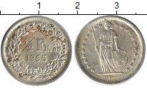 Изображение Монеты Швейцария 1/2 франка 1965 Серебро XF