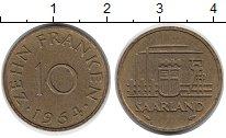 Изображение Монеты Германия Саар 10 франков 1954 Латунь XF
