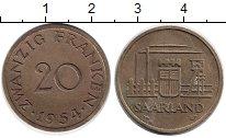 Изображение Монеты Германия Саар 20 франков 1954 Латунь XF