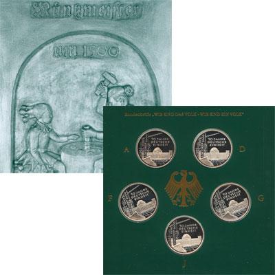 Изображение Подарочные наборы Германия 10-летие объединения Германии 2000 Серебро Proof После Второй Мировой