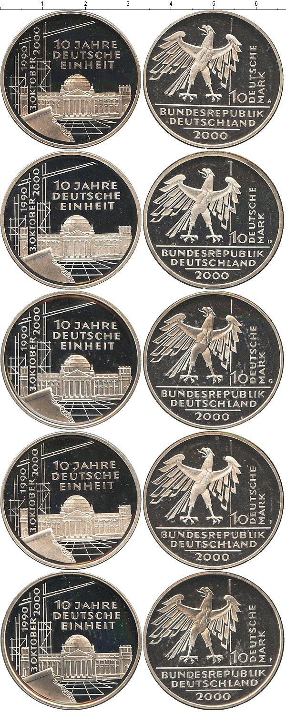 Картинка Подарочные монеты Германия 10-летие объединения Германии Серебро 2000