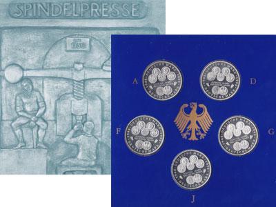 """Изображение Подарочные монеты Германия 50-летие немецкой марки 1998 Серебро Proof """"В послевоенные годы"""