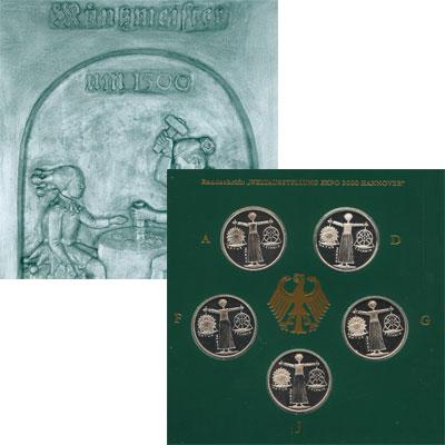 """Изображение Подарочные монеты Германия Экспо 2000 в Ганновере 2000 Серебро Proof """"Несмотря на то, что"""