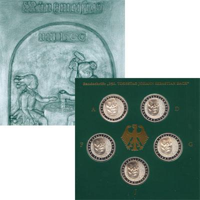 Изображение Подарочные наборы Германия Иоганн Себастьян Бах 2000 Серебро Proof Набор посвящен Иоган