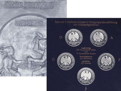 Изображение Подарочные наборы Германия 750-летие монастыря Святой Екатерины и 50-летие морского музея в Штральзунде 2001 Серебро Proof Подарочный набор пос