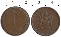Изображение Монеты Великобритания Родезия 1 цент 1972 Бронза XF