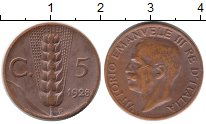 Изображение Монеты Италия 5 сентесим 1928 Бронза XF