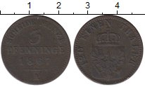 Изображение Монеты Германия Пруссия 3 пфеннига 1867 Медь VF