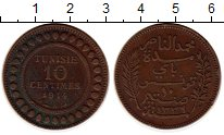 Изображение Монеты Тунис 10 сантим 1914 Бронза XF
