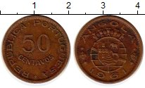 Изображение Монеты Ангола 50 сентаво 1961 Бронза XF